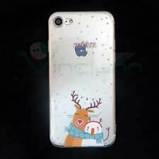 """Pellicola+Custodia RENNA NATALE CHRISTMAS per iPhone 7 4.7"""" cover TPU flessibile"""
