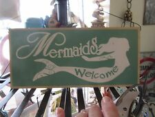 New wood hanging Mermaid Welcome sign for door ,coastal ,beach home decor