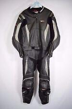 Men's TEKNIC Noir Argent 2 Pièce Moto Moto Combinaison Taille Uk 48