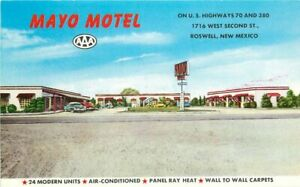 Automobiles Mayo Motel roadside Roswell New Mexico Postcard Jones 20-5246