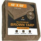 Multipurpose Protective Cover Brown Poly Tarp 40' x 60' - Durable,5 Mil