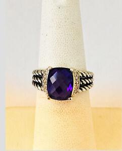 David Yurman Petite Wheaton Sz 6 Purple Amethyst Ring 925 Sterling Diamonds