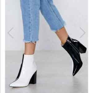 Nasty Gal White Black Two-Tone Ankle Booties