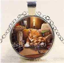 Cat Sleep Photo Cabochon Glass Tibet Silver Chain Pendant  Necklace
