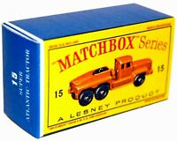Matchbox Lesney  No 15 ROTINOFF ATLANTIC TRACTOR Empty Repro Box style D