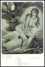 Agirba Ruslan 2009 Exlibris C3 Leda and Swan Mythology Erotic Nudo Woman Sex 308