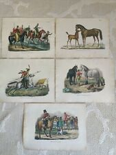 5 x horses lithograph engraved colour prints by S. De Visser 1845 - 1890