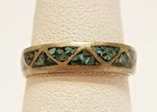Vintage Native American Dead Pawn Sterling Silver Turquoise Chip Inlay Ring V495