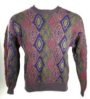 Vintage 90s AT EASE Multicolor Knit Coogi Like Cosby Sweater Large - biggie rap