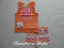 New NWT Gymboree 3pc Outfit Set RUFFLED Tank Top Terry Wave Shorts Bows Girls 4