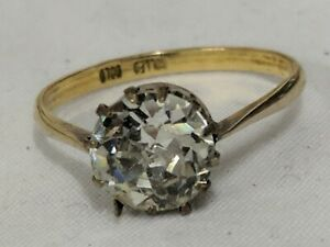 Vintage Art Deco  style single Stone  Rolled Gold Ring size N