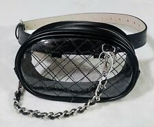 Steve Madden Patent Leather Belt Bag Handbag Size XL Clear Black Silvertone New
