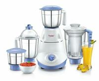 Prestige Iris(750 Watt) Mixer Grinder with 3 Jars White Blue - Express Shipping