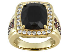 Black Spinel & Topaz Solitaire w/Accents Men's Band Ring 925 Sterling Silver