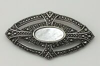 Vintage Marcasite Style Mother of Pearl Bar Brooch Pin Silver Tone Metal Elegant
