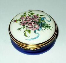Halcyon Days English Enamel Box - Bouquet Of Pink Roses & Ribbons - Anniversary