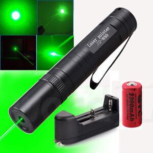 Powerful Green 1mW Laser Pointer Light Lazer Pen Lamp Beam Focus+Battery Charger