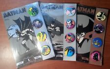 Complete Set of 3 BATMAN BUTTON PIN COLLECTION - Miller, Wrightson - New/Sealed