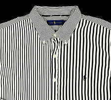 Men's RALPH LAUREN Black White Striped Plaid Shirt Extra Large XL NWT NEW UniQue