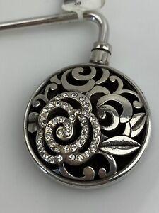 Brighton Deco Rose Silver Crystal Handbag Holder NWT