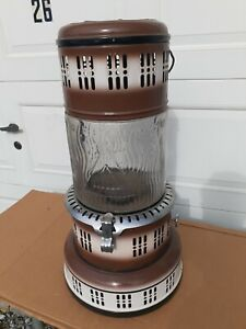 Vintage Perfection Brown & White Enamel Porcelain Glass Globe Kerosene Heater