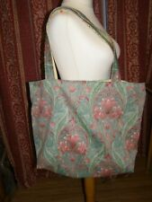 HANDMADE FULLY LINED TOTE BAG SHOPPIING BEACH BAG FLORAL RENAISSANCE FABRIC