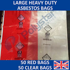 50 Red and 50 Clear Large Heavy Duty Asbestos Disposal Bags 900mm x 1200mm