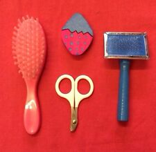 Grooming Kit Small Animal Soft Brush Slicker Brush Nail Clippers and Wood Gnaw