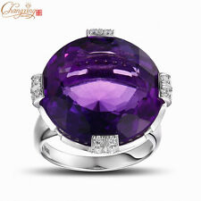 14K White Gold Natural 20.1ct Amethyst Engagement 0.88ct Diamond RING