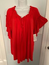 NWT Denim 24/7 Red Stretchy Top with Keyhole Tied Neckline      Size 18/20