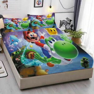 Super Mario Fitted Sheet 3PCS Bed Sheet Pillowcases Mattress Cover Bedding Set