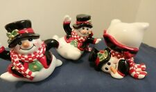 Fitz and Floyd Holiday Holly Jolly Snowman Tumblers, Set of 3 Winter