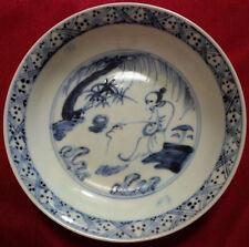 Extremely Rare Chinese Ming Hongzhi Blue and White 'Fishing' Dish