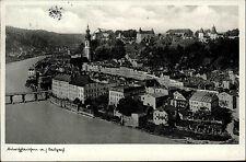 Burghausen an der Salzach Bayern s/w Postkarte 1937 gelaufen Teilansicht Brücke