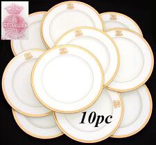 Antique 1911 MINTON 10pc Dinner Plate Set, Raised Gold Enamel & Ornate Monograms