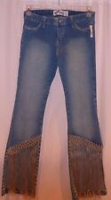 Big Vai Distressed Hippie Fringed Embroidery Embellished Light Wash Jeans Large