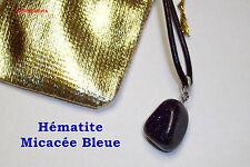 Collier cuir avec Joli Pendentif Hématite Micacée Bleue - Pierre Naturelle !