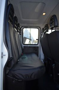 Black Tailored Waterproof Seat Covers Back Rear Quad for Iveco Daily 2014+