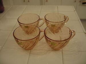 Beautiful Vintage Set Of 4 Cups Tags Unused Arcoroc France Pink Swirl Rosaline
