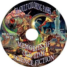MEMORIES OF OLD TIME SCIENCE FICTION - 50 PRINTABLE ADULT COLORING PAGES-PDF-CD
