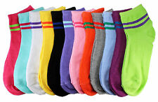 New Lot 12 Pairs Womens Ankle Socks Multi Color Neon Stripe Loop Size 9-11 Dozen