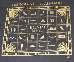 VINTAGE Single Stitch EGYPTIAN HIEROGLYPHICS t shirt Oneita XXL USA alphabet