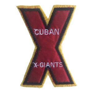 "CUBAN X GIANTS NEGRO LEAGUE BASEBALL 3.25"" LETTER X YELLOW FELT TEAM PATCH"