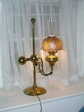 VICTORIAN ANTIQUE STUDENT GERMAN  IMPERIAL LAMP-BRASS PULL FEATHER GLASS SHADE