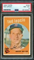 1959 Topps BB Card #348 Ted Lepcio Boston Red Sox PSA NM-MT 8 !!!