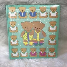 VTG 1991 TEDDY BEAR PASTEL MULTICOLORED PHOTO ALBUM SCRAPBOOK RARE FAIRY KEI