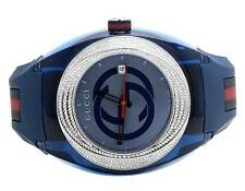 Custom New Mens Blue Gucci Sync 46MM Pave Set Diamond Watch YA137104 1.25 Ct