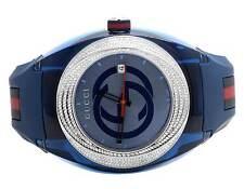 Custom New Mens Blue Gucci Sync 46MM Pave Set Diamond Watch YA137104 1.25 Ct