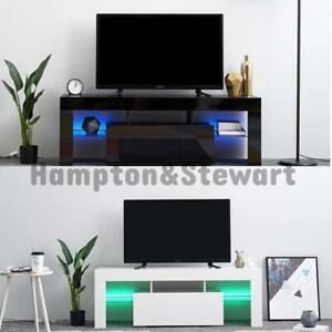 NEW White/Black LED TV Stand Cabinet Unit High Quality 130cm LED Lights