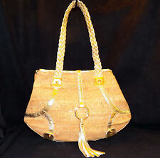 Elezar Nathan Genuine Cork Metallic Gold Leather Shoulder Bag Tote Made In USA